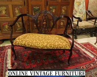 RESTORED 1800s antique settee loveseat edwardian french english european love seat mahogany inlaid marquetry