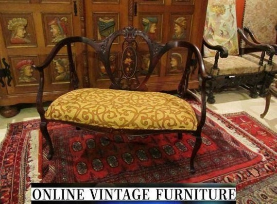 Restored 1800s antique settee loveseat edwardian french Antique loveseat styles