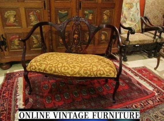 Restored 1800s Antique Settee Loveseat Edwardian French