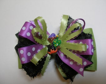 Wizard Halloween Hair Bow Check Unique Slime Lime Black Purple Boutique Toddler Girl