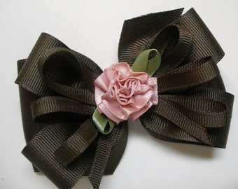 Rich Dark Chocolate Brown Hair Bow Layered Boutique Toddler to Big Girl