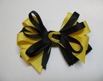 Black Maize Yellow Hair Bow Layered Boutique Back to School Uniform