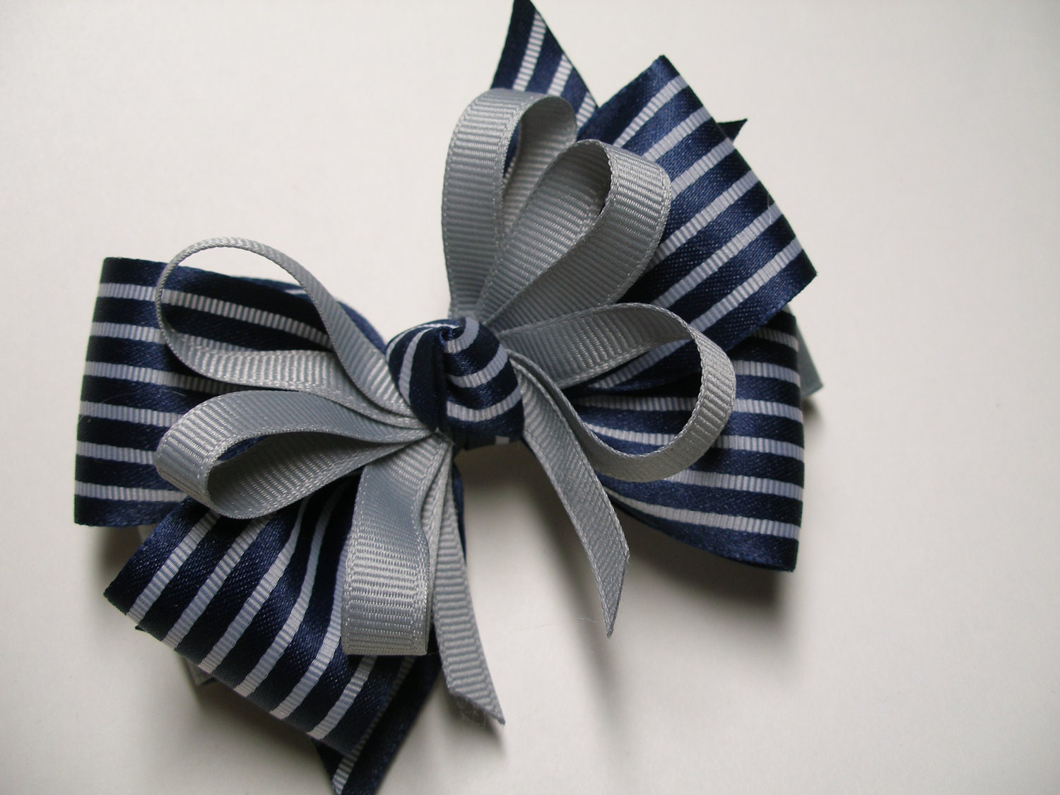 Back To School Dark Navy Blue Amp Gray Hair Bow Unique