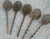 10pcs Dainty Oval Filigree Bobby Pins Antique Bronze - Australia