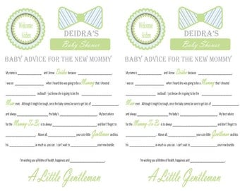 Baby Shower Mad Libs and Wishes for the Mom to Be- Little Gentleman and Bowties