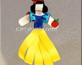 Snow White Hair Clip, Princess Hair Clip, Princess Hair Bow, Snow White Ribbon Sculpture Hair Clip, Princess Clip, Snow White Clip