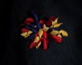 Navy Blue, Red and Yellow Korker Elastic Hair Tie
