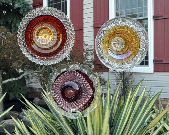 SET of 3 Repurposed Glass Flowers, Sun Catcher Garden Art - Autumn Harvest Colors