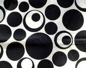 60's Vintage Cotton Fabric - Black and White MOD Circles Print