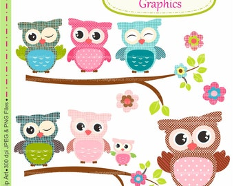owls clip art , Digital Clip Art owls, Personal and Small Commercial Use, Invitations, Card Making, Scrapbooking  M.21