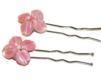 Pink Flower Hair Pins, Upcycled Vintage, Hair Accessories, Beauty, Wedding