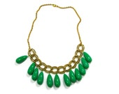 Statement Necklace, Green Drop Beads with Gold Metal Chain, Repurposed, Upcycled Vintage