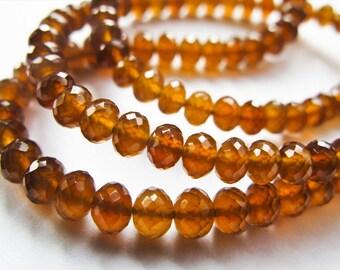 Garnet Rondelles, Spessartite Rondelles, Garnet Beads, AAA, half Strand, 3.25-4mm, 8 inches