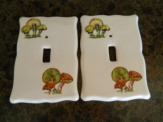 Ceramic Mushroom Light Switch Plate Covers  /  Kitchen Light Switch  /  Mushroom Decor  /  Single Light Switch