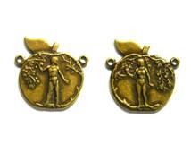 2 Antique Brass Adam And Eve Connectors - 2-PE-1