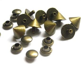 Antique Bronze Cone Rivets - 10 Sets - 20-R-6