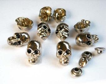 10 Sets Silver Skull Rivet Studs - 20-R-1