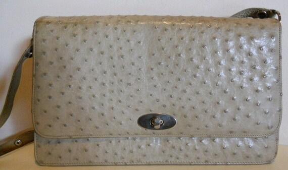 Fabulous vintage cream white ostrich leather bag