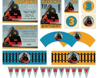 DIY Printable Train Birthday Party Pack