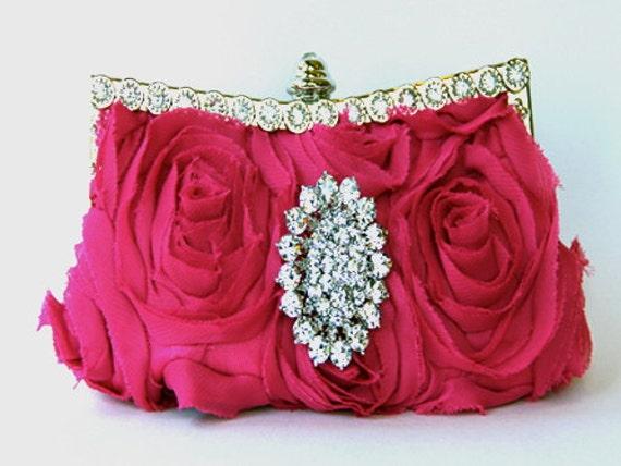 Hot Pink Silk Evening Purse - Bridal Clutch with Swarovski Crystal Accent