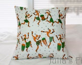 African Dance Pillow White Red Green Cover
