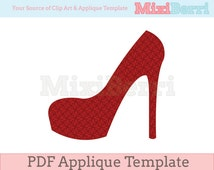 High Heel Applique Template PDF Instant Download