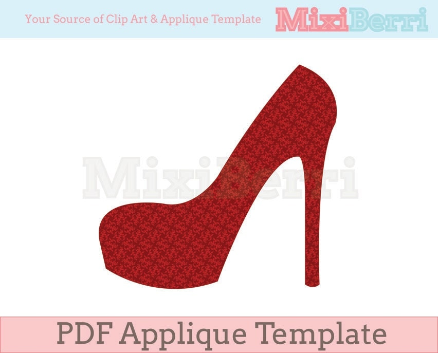 High heel applique template pdf instant download for High heel shoe design template