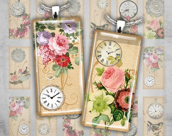 Dominoe Jewelry - Digital Collage Printables - Instant download for domino pendants, scrapbooking - TIME GOES BY