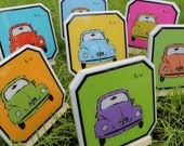 Luv Bug Vintage Car Coasters - Set of 4