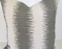 GRAY PILLOWS Grey Throw Pillow Covers Gray Pillow Striped Gray Decorative Throw pillows Ikat Pillow Covers 22 24x24 26 Euro Shams Home Decor