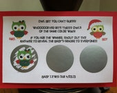 Owl Christmas  Gender Reveal Baby Shower Game Scratch off