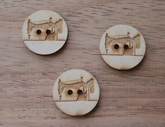 3 Craft Wood Vintage Sewing Machine.Round Buttons, 3 cm Wide, Laser Cut Wood