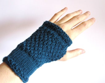 Fingerless Gloves for women. Hand knitted hand warmers dark turquoise.