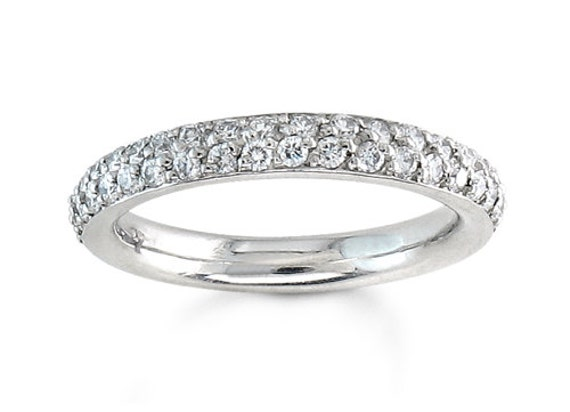 Ladies Two Row Pave Diamond Wedding Band In 14kt White Gold