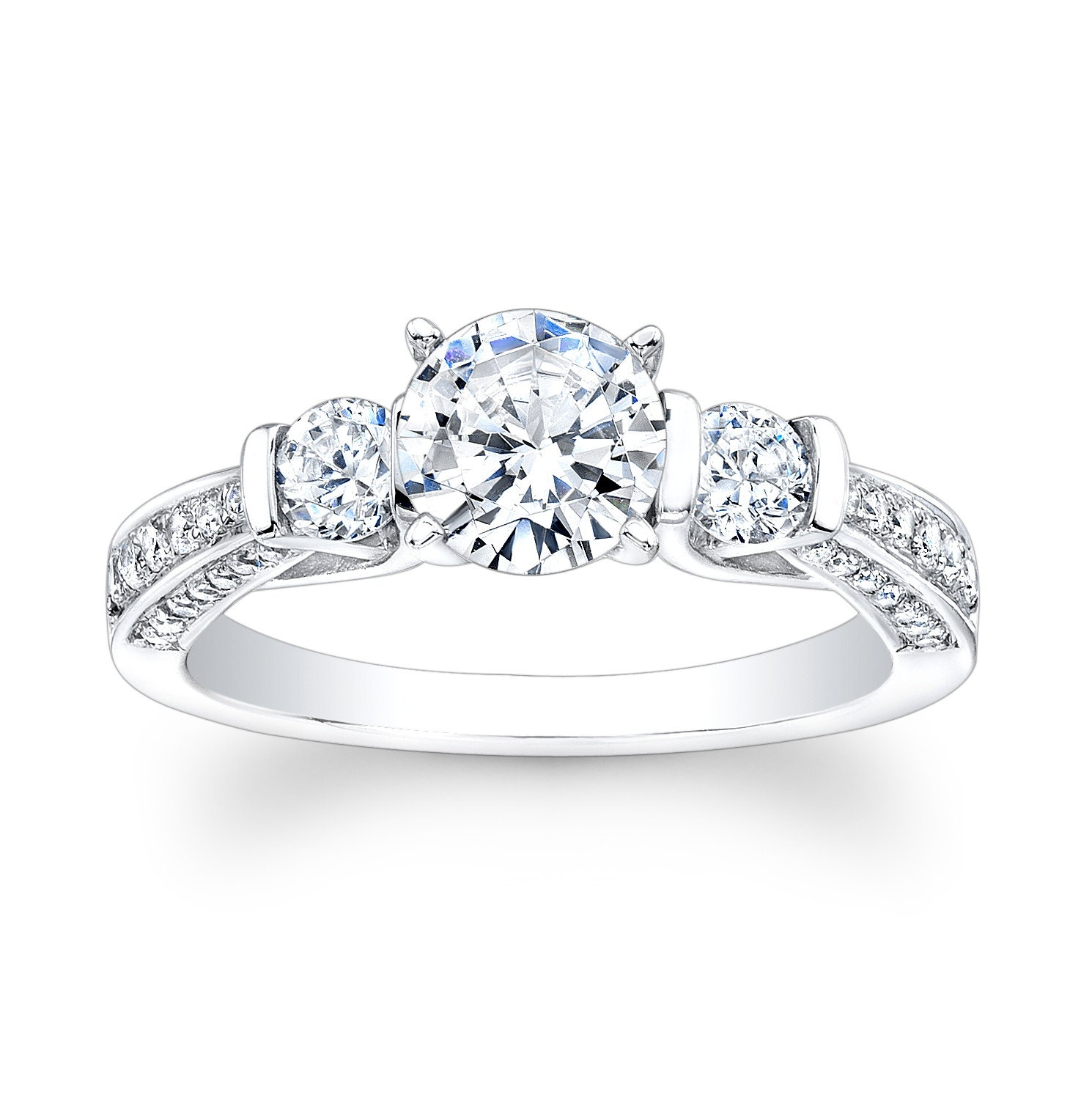 platinum past present future engagement ring 0 60 ctw
