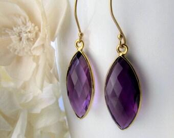 CLEARANCE- Amethyst Marquise Drop Earrings, Purple Amethyst, Purple Bezel Dangle, February Birthstone, Gold Vermeil, Holiday gift