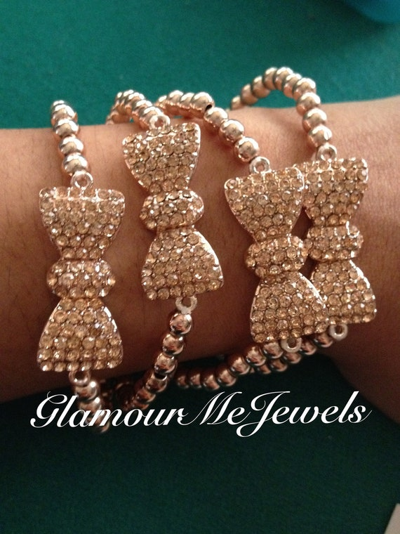 The CARA  bracelet : Rose Gold Pave Bow Bracelets