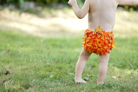Diaper Cover Fall Leaves with Baby Leaf Headband Orange