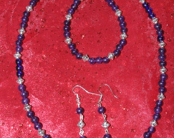 Purple and antiqued metal Necklace, Bracelet and Earrings