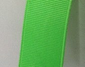 """7/8"""" Lime Green Grosgrain ribbon- Various Quantities Available- This listing is for 10YDS"""