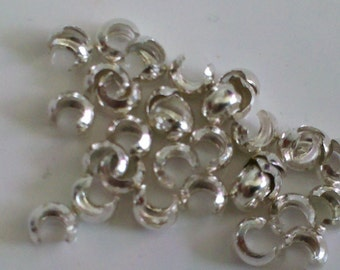 20 pieces 3mm Sterling Silver Crimp Covers MADE IN USA