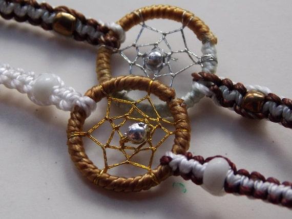 Handmade Woven Dream Catcher Friendship Bracelets (pair) : White and Brown