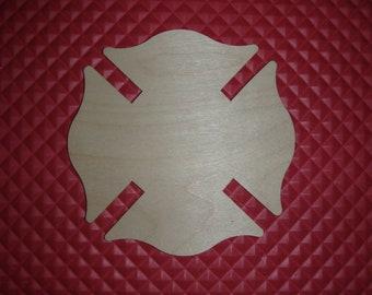 Fireman Maltese Cross Unfinished Wood Cross Wooden Cut Out  Fire Dept