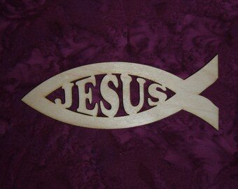 """Christian Fish With JESUS Unfinished Wooden Craft Cut Out 4.25"""" X 12"""" Inch"""