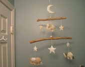 Elephants Moon and Stars Mobile gender neutral baby boy or girl green cream white silver Elephant crib mobile