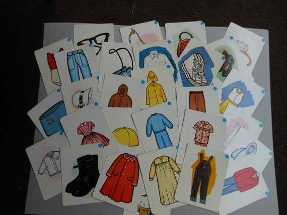 Reserved for Marie On Sale FLASH CARDS CLOTHING Items Peabody Language Development Guidance 1968 Complete Set of 29 Vintage Retro Art