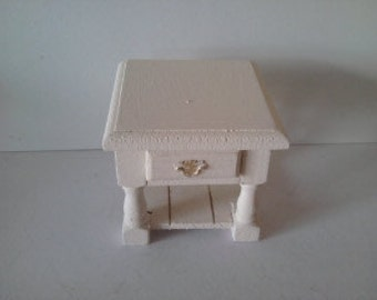 Doll house bedside table/ side table in cream  dollhouse furniture 112th scale miniature  dolls house furniture