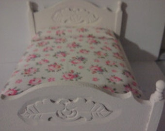 Dolls house 1/12 scale double bed in Colur of your choice  with cath kidston fabric dollhouse bed miniature bedroom