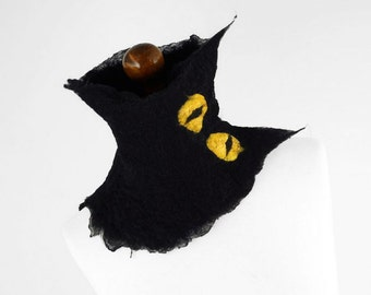 BLACK CAT SCARF Black Cat Collar, Cat Scarf, Felted Scarf, Fantasy Fairy Alice in Wonderland Black Wrap, black collar, Fiber Art