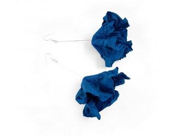 Nunofelt Earrings Turquoise Felted Earrings Felt earrings felt nuno flower nunofelt silk folk boho wool fairy